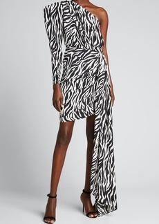 Bronx and Banco Zebra One-Shoulder Side Draped Bodycon Dress
