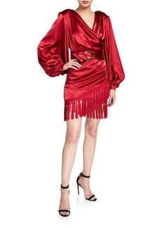 Bronx and Banco Carmen Belted Long-Sleeve Fringe-Hem Mini Satin Wrap Dress