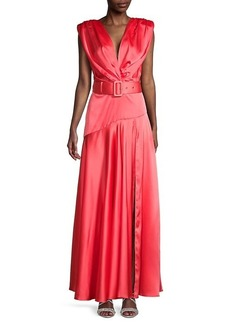 Bronx and Banco Carmen Belted Satin Gown