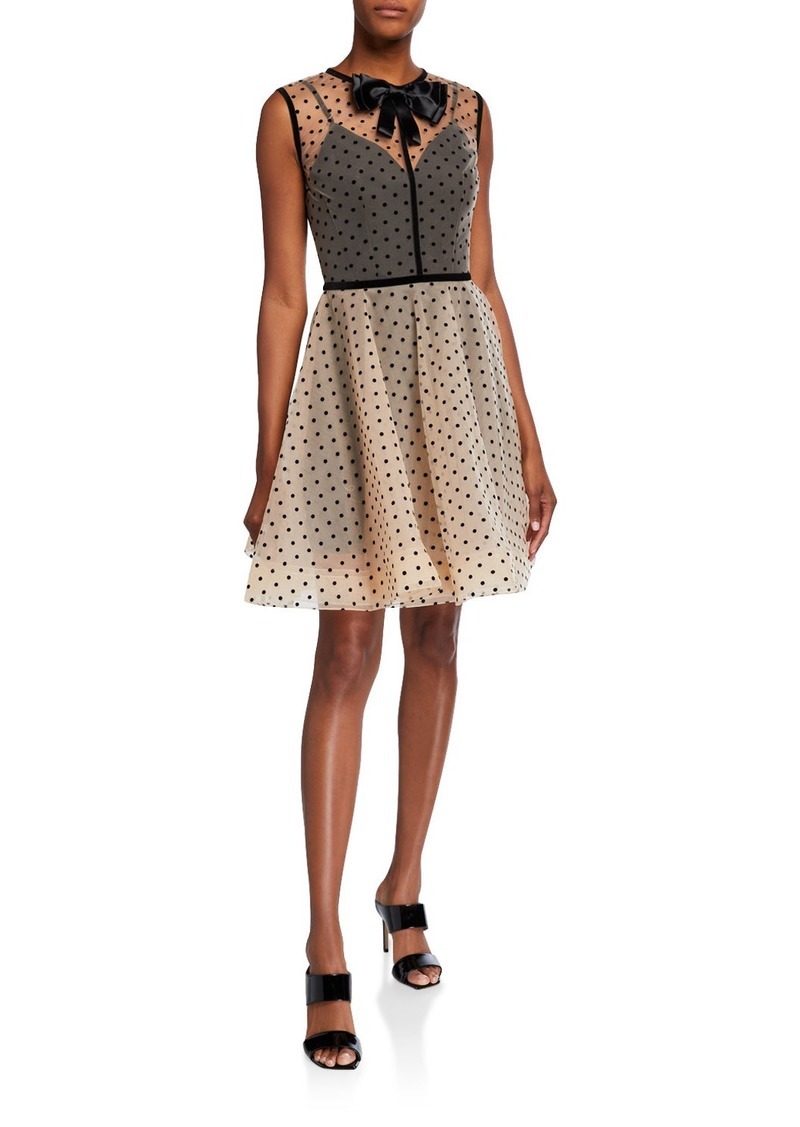 Bronx and Banco Charlotte Dotted Sheer-Bodice Bow-Neck Mini Tulle Dress