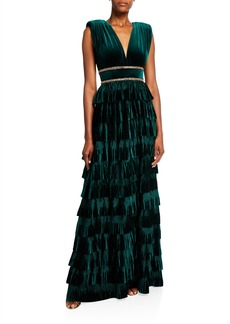 Bronx and Banco Deep V-Neck Sleeveless Tiered Velvet Gown w/ Waist Trim