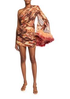 Bronx and Banco Fire-Print One-Shoulder Feather-Cuff Mini Dress