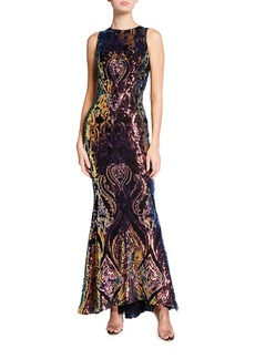 Bronx and Banco Galaxy Multicolor Sequin Sleeveless Mermaid Gown
