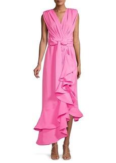 Bronx and Banco Lika Robe Asymmetric Ruffle Midi Dress