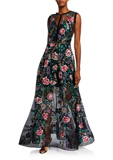 Bronx and Banco Melia Floral Embroidered Sleeveless Full Skirt Gown