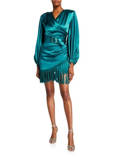 Bronx and Banco Monicat Long-Sleeve Satin Wrap Dress with Fringed Hem