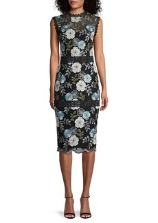Bronx and Banco Palette Floral-Embroidered Sheath Dress