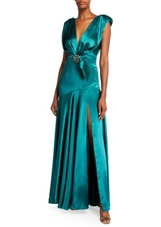 Bronx and Banco Romi Deep V-Neck Cap-Sleeve Wrap-Waist Satin Gown