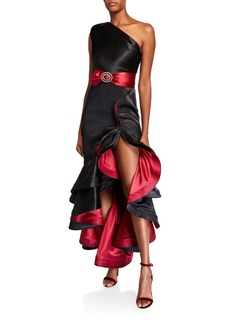 Bronx and Banco Rumba One-Shoulder Ruffle Gown with Asymmetric Slit Hem