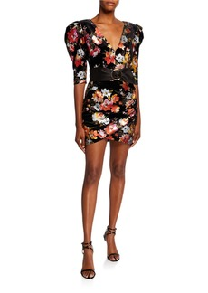 Bronx and Banco Saint Floral Velvet Elbow-Sleeve Belted Mini Dress