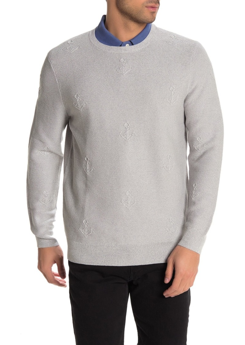 Brooks Brothers Anchor Embroidered Jacquard Crew Neck Sweater