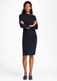 Brooks Brothers Asymmetrical-Neck Jersey Sheath Dress