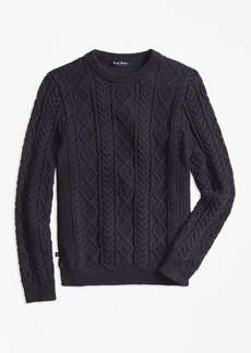 Brooks Brothers Boys Aran Cable Crewneck Sweater