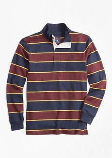 Brooks Brothers Boys Bold Stripe Mockneck Rugby