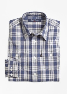 Brooks Brothers Boys Chambray Plaid Sport Shirt