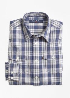 Brooks Brothers Boys Chambray Plaid Sport Shirt