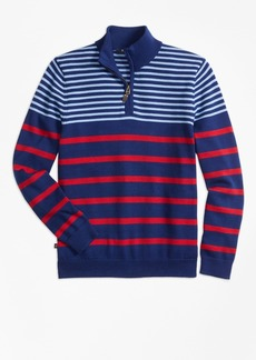 Brooks Brothers Boys Cotton Alternate Stripe Half-Zip Sweater