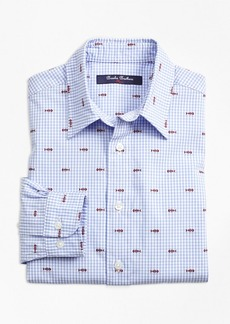 Brooks Brothers Boys Cotton Gingham Sport Shirt with Fishbone Embroidery