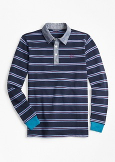 Brooks Brothers Boys Cotton Long-Sleeve Stripe Pique Polo Shirt