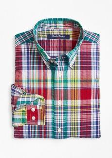 Brooks Brothers Boys Cotton Madras Seersucker Sport Shirt