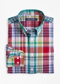 Brooks Brothers Boys Cotton Madras Seersucker Sport Shirt