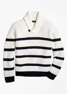 Brooks Brothers Boys Cotton Stripe Shawl Collar Sweater