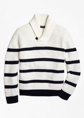 Brooks Brothers Boys Cotton Stripe Shawl Collar Sweater