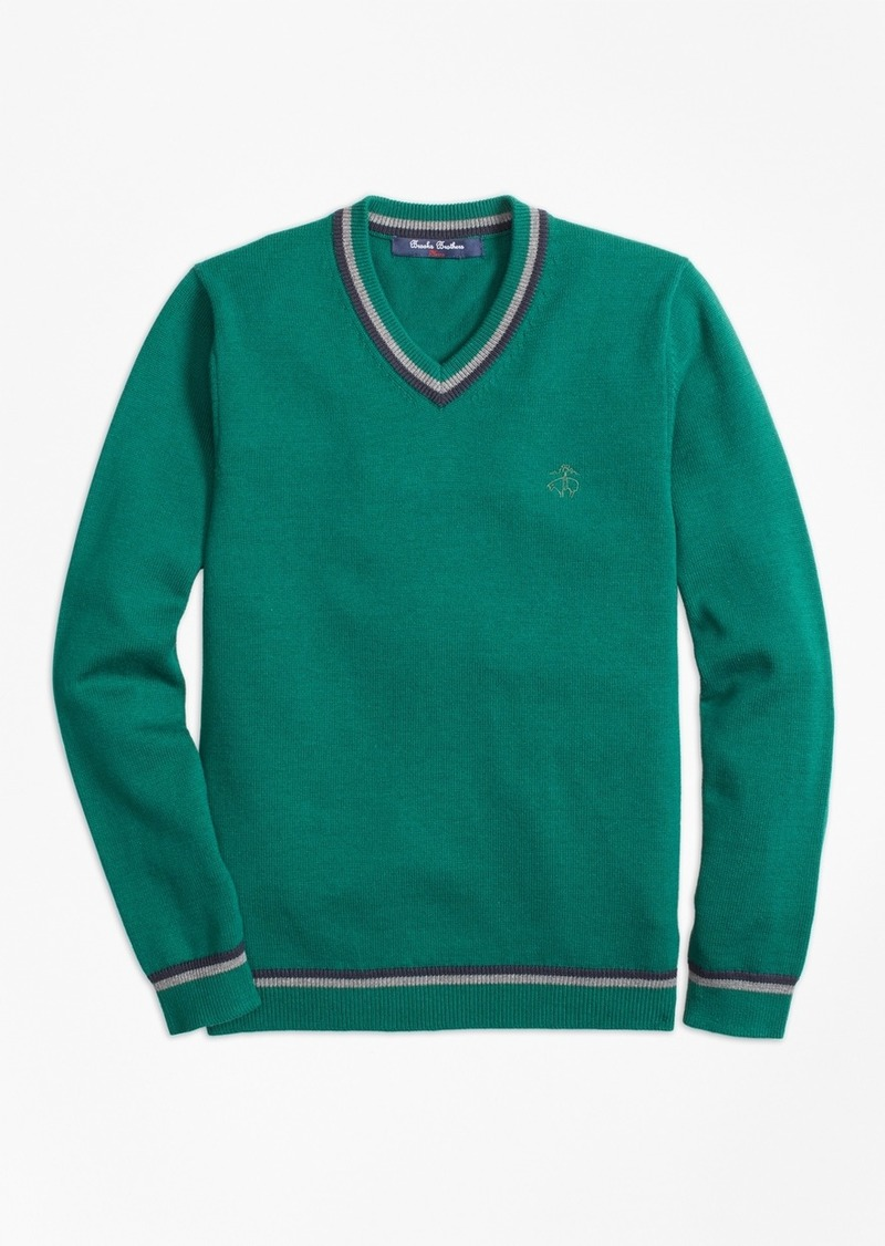 Brooks Brothers Boys Cotton Tipped V-Neck Sweater