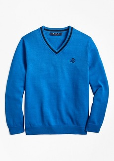 Brooks Brothers Boys Cotton V-Neck Sweater