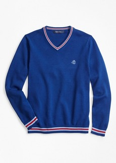 Brooks Brothers Boys Cotton V-Neck Tipped Sweater