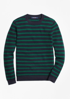 Brooks Brothers Boys Cotton Waffle Stitch Stripe Crewneck Sweater