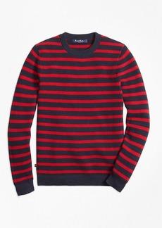 Brooks Brothers Boys Cotton Waffle Stitch Stripe Crewneck Sweater