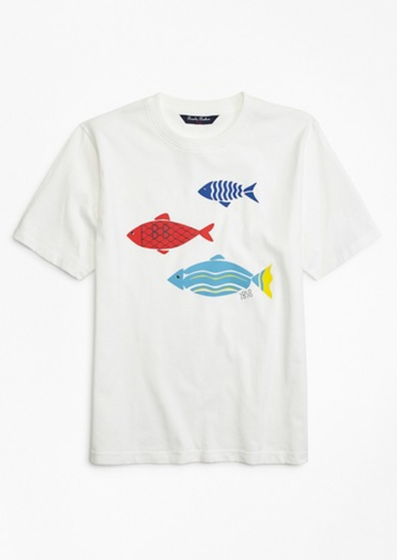 Brooks Brothers Boys Fish Screen Print T-Shirt
