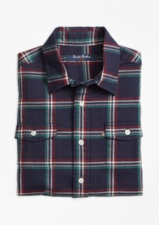 Brooks Brothers Boys Holiday Plaid Flannel Sport Shirt
