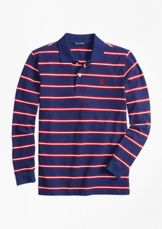 Brooks Brothers Boys Long-Sleeve Cotton Stripe Pique Polo Shirt