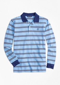 Brooks Brothers Boys Long-Sleeve Cotton Stripe Pique Polo Shirt