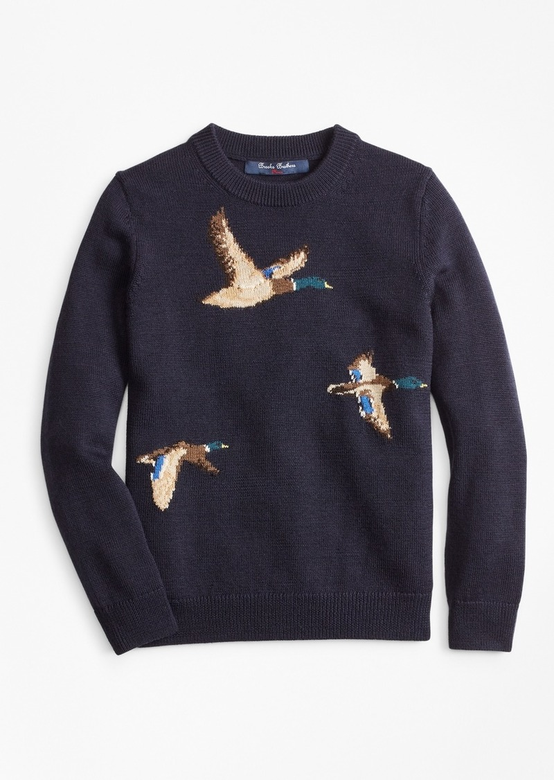 Brooks Brothers Boys Merino Wool-Blend Mallard Duck Crewneck Sweater