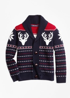 Brooks Brothers Boys Merino Wool Fair Isle Cardigan