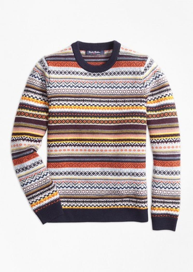 Brooks Brothers Boys Merino Wool Fair Isle Crewneck Sweater
