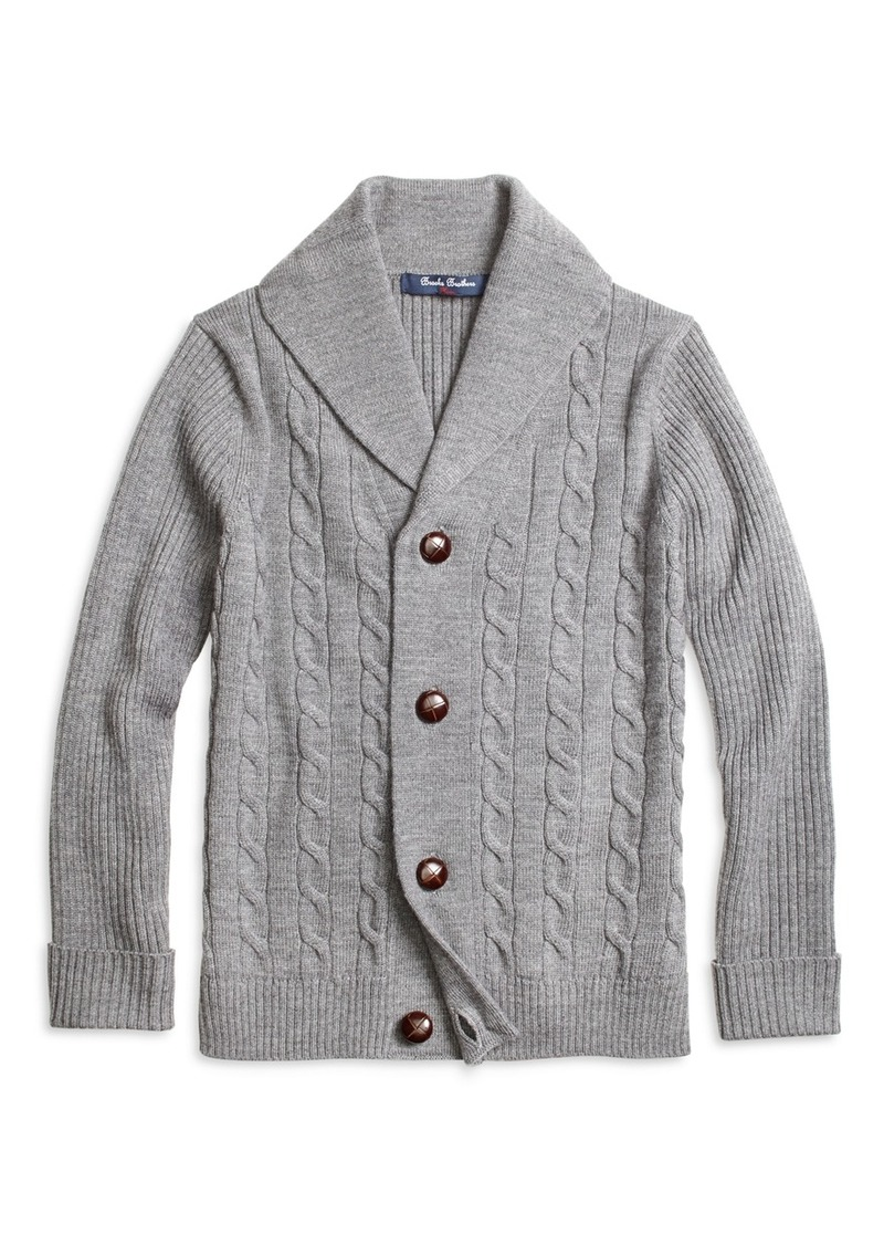 Brooks Brothers Boys Merino Wool Shawl Cable Cardigan | Sweaters ...