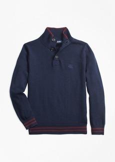 Brooks Brothers Boys Merino Wool Tipped Mockneck Sweater