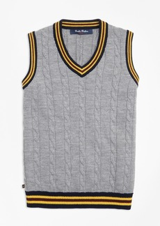 Brooks Brothers Boys Merino Wool Tipped Vest