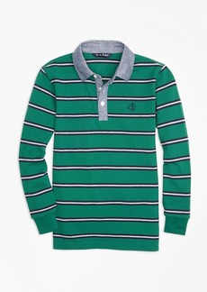 Brooks Brothers Boys Mini Stripe Chambray Pique Polo Shirt