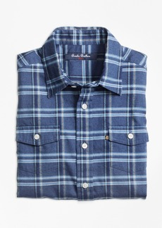 Brooks Brothers Boys Multi Plaid Flannel Sport Shirt