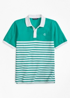 Brooks Brothers Boys Nautical Stripe Pique Polo Shirt