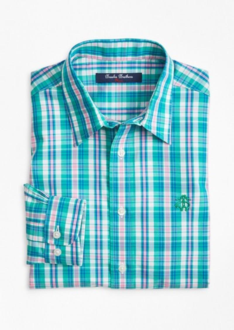Brooks Brothers Boys Non-Iron Bright Plaid Sport Shirt
