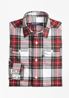 Brooks Brothers Boys Stewart Plaid Flannel Sport Shirt