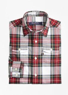 Brooks Brothers Boys Stewart Plaid Flannel Sport Shirt