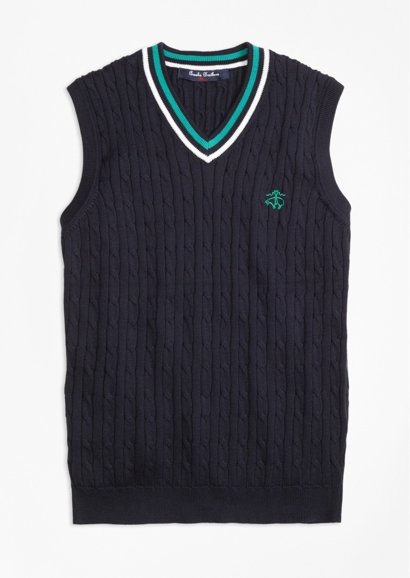 Brooks Brothers Boys Supima® Cotton Cable Vest