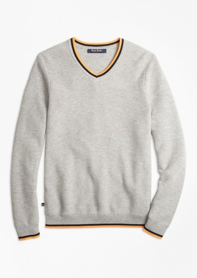 Brooks Brothers Boys Supima® Cotton Tipped V-Neck Sweater